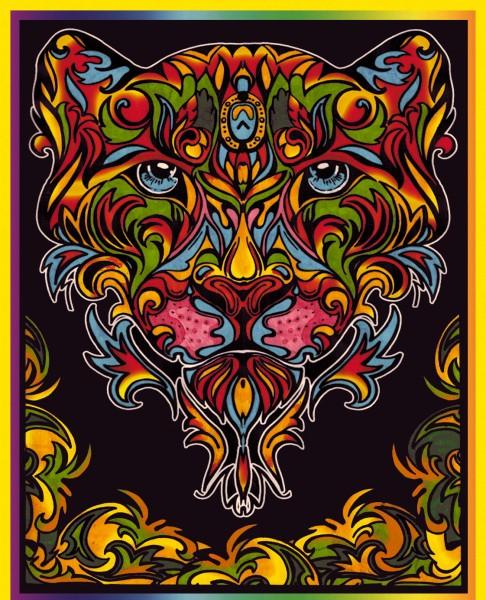 Samtbild, Color Velvet, Groß, ca. 47x35cm, Tiger