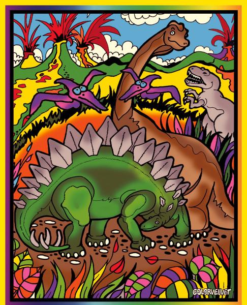 Samtbild, Color Velvet, Groß, ca. 47x35cm, Dinosaurier