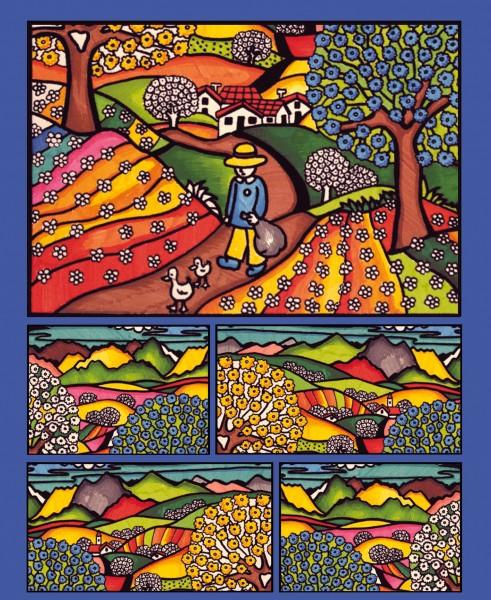 Samtbild, Color Velvet, Faltbox, ca. 24x17x13cm, Frühlingslandschaft