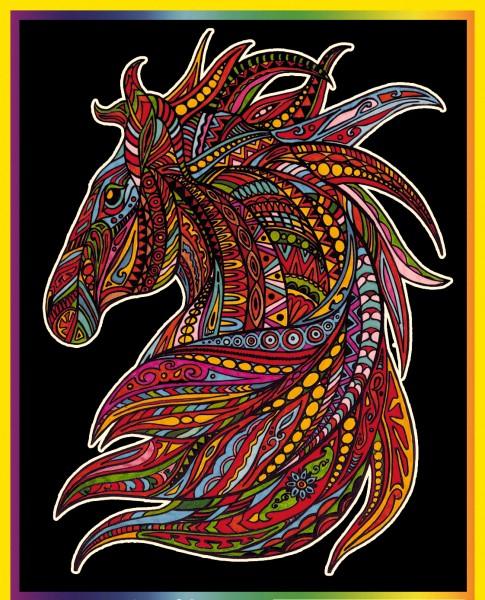 Samtbild, Color Velvet, Groß, ca. 47x35cm, Pferdekopf mit Mähne