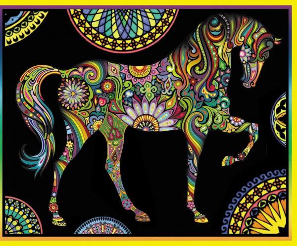 Samtbild, Color Velvet, Maxi, ca. 70x50cm, Pferd Mandala