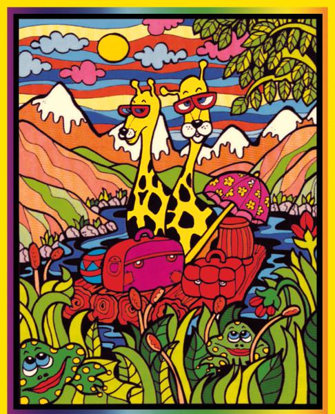 Samtbild, Color Velvet, Groß, ca. 47x35cm, Giraffe