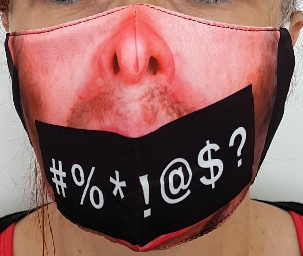 Mund- und Nasenschutz, Stoff, bärtige Symbole