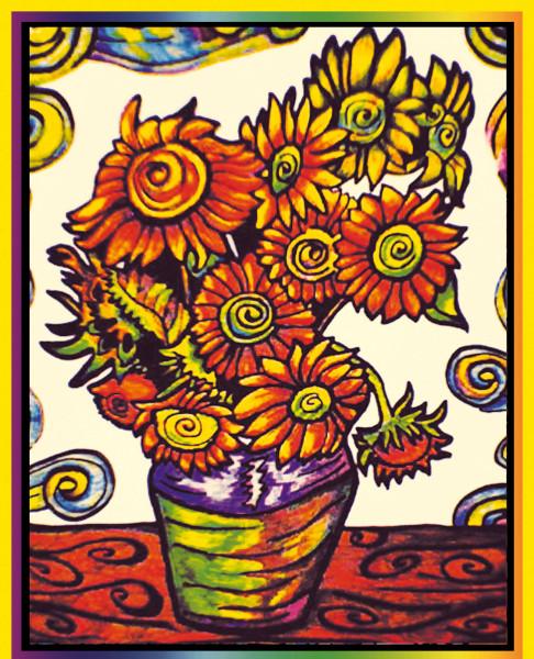 Samtbild, Color Velvet, Groß, ca. 47x35cm, Sonnenblumen van Gogh