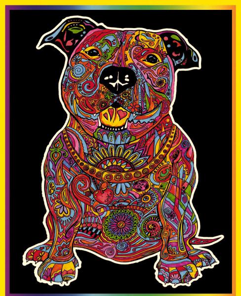Samtbild, Color Velvet, Groß, ca. 47x35cm, Pitbull Mandala