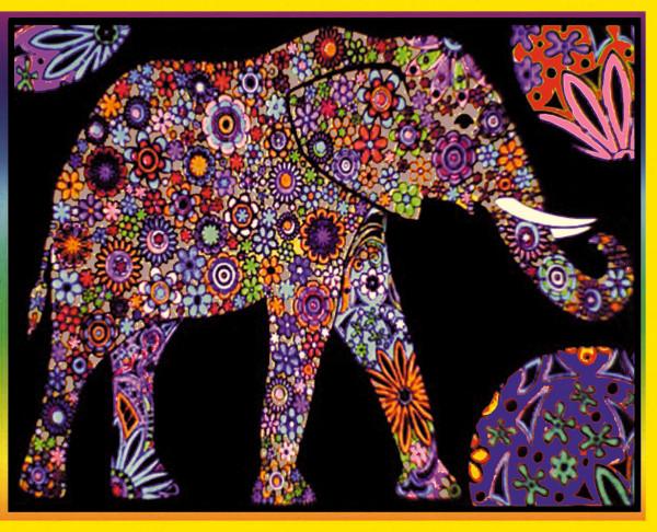 Samtbild, Color Velvet, Groß, ca. 47x35cm, Elefant Mandala