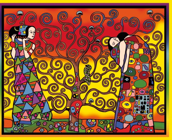 Samtbild, Color Velvet, Groß, ca. 47x35cm, Baum von Klimt