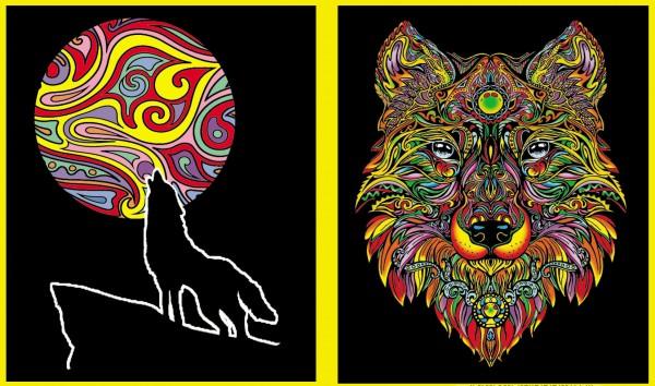 Ringbuchmappe mit Samtbildern, Wolf