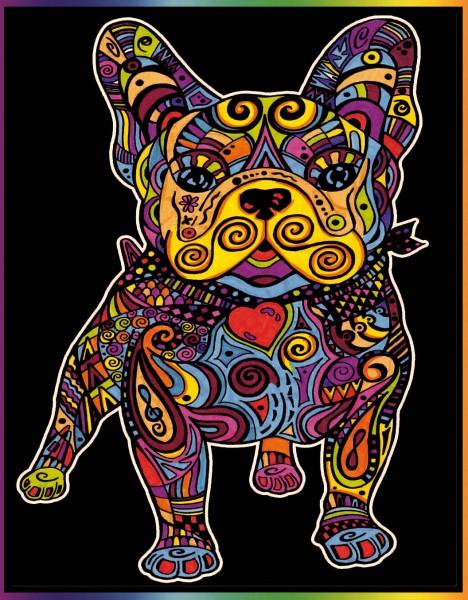 Samtbild, Color Velvet, Groß, ca. 47x35cm, Bulldogge