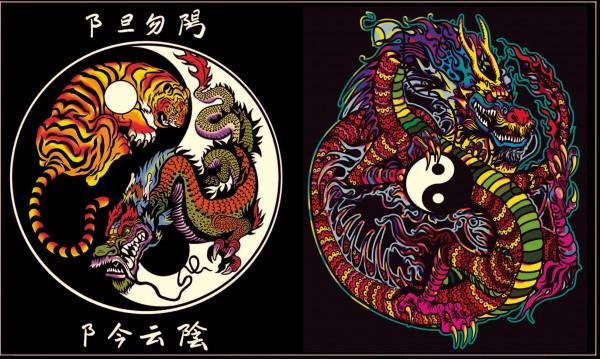 Elastic-Sammelmappe mit Samtbildern, Yin-Yang Drachen