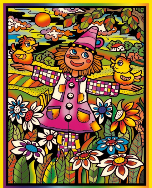 Samtbild, Color Velvet, Groß, ca. 47x35cm, Vogelscheuche lustig