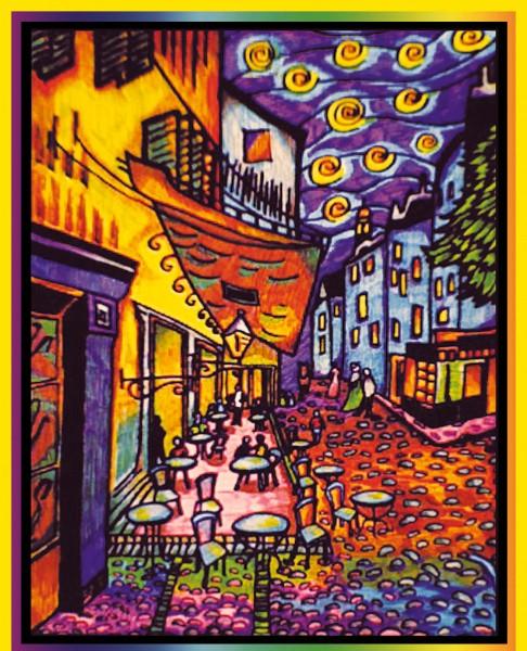 Samtbild, Color Velvet, Groß, ca. 47x35cm, Cafe de Paris, van Gogh
