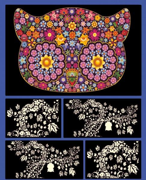 Samtbild, Color Velvet, Faltbox, ca. 24x17x13cm, Mandala Eule