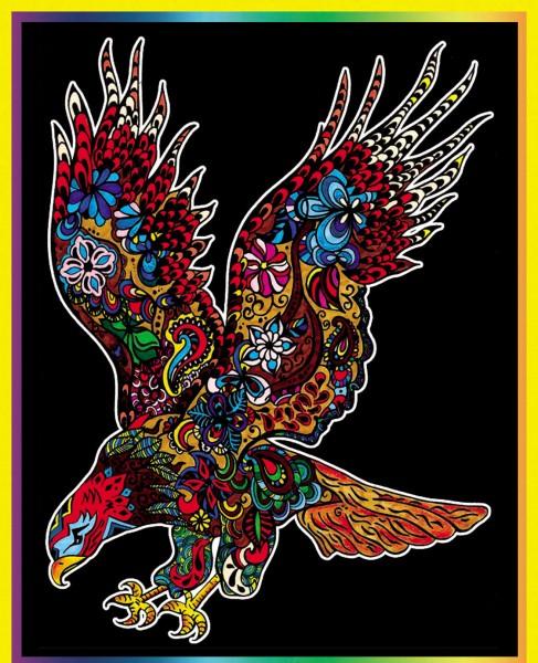 Samtbild, Color Velvet, Groß, ca. 47x35cm, Adler