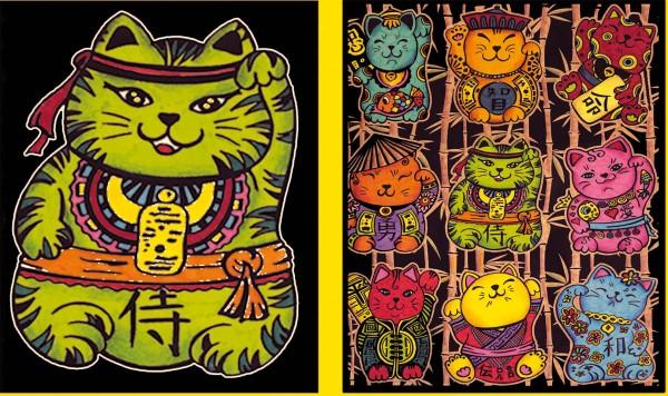 Elastic-Sammelmappe mit Samtbildern, Katzen chinesisch