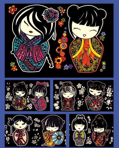 Samtbild, Color Velvet, Faltbox, ca. 24x17x13cm, Mangas