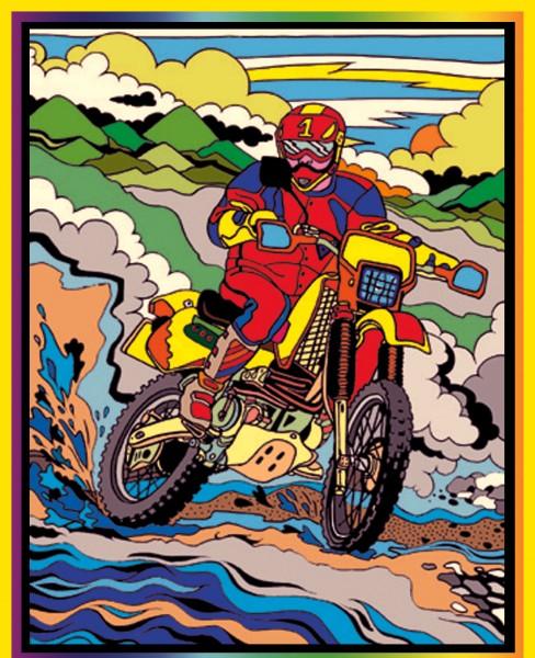 Samtbild, Color Velvet, Mittel, ca. 37x28cm, Motocross