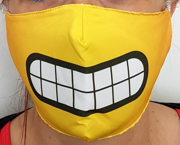 Mund- und Nasenschutz, Stoff, weiße Zähne