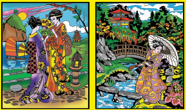 Ringbuchmappe mit Samtbildern, Geishas