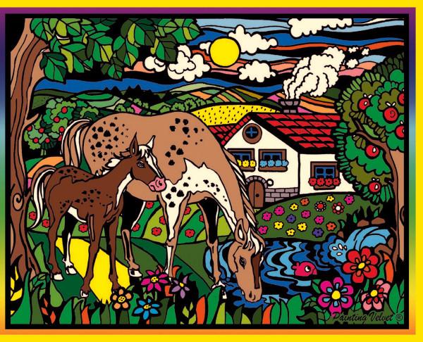 Samtbild, Color Velvet, Groß, ca. 47x35cm, Pferde