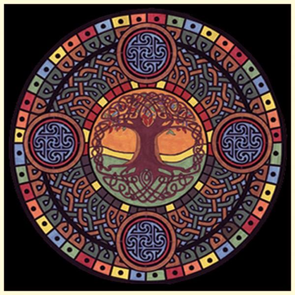Samtbild, Color Velvet, Mandala 32x32cm, Lebensbaum