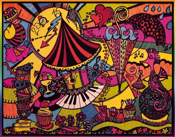 Samtbild, Color Velvet, Groß, ca. 47x35cm, Kirmes