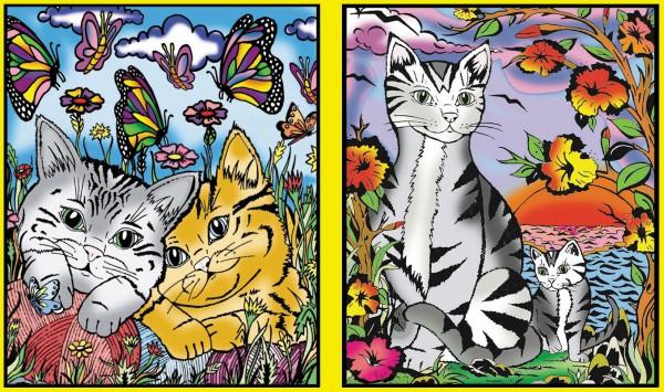 Ringbuchmappe mit Samtbildern, Katzen