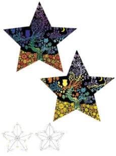 Samtbild, Color Velvet, 3D-Stern, ca. 50x50x8cm, Sterne