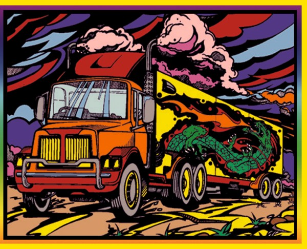 Samtbild, Color Velvet, Groß, ca. 47x35cm, Lastwagen