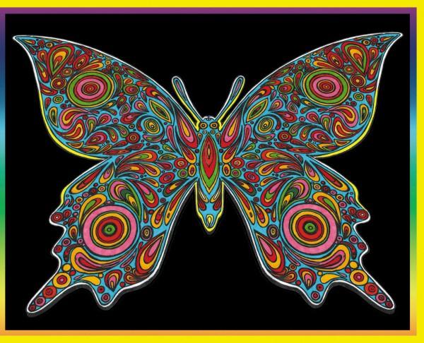 Samtbild, Color Velvet, Groß, ca. 47x35cm, Schmetterling