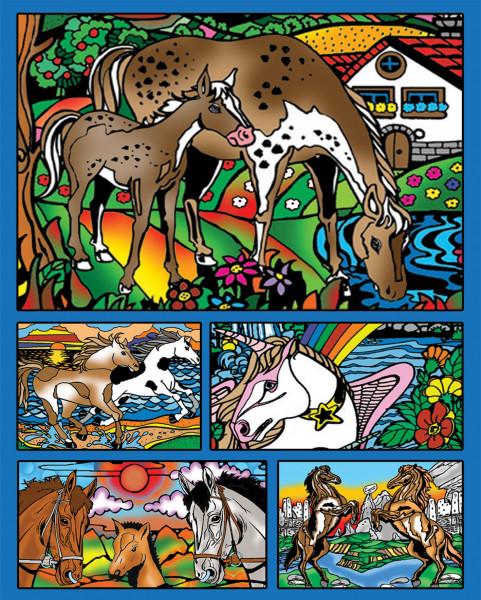 Samtbild, Color Velvet, Faltbox, ca. 24x17x13cm, Pferde