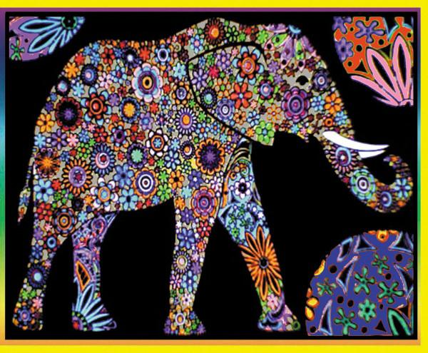 Samtbild, Color Velvet, Maxi, ca. 70x50cm, Elefant Mandala