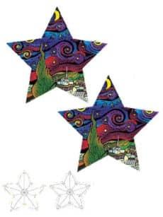 Samtbild, Color Velvet, 3D-Stern, ca. 50x50x8cm, Eule