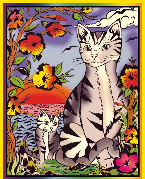 Samtbild, Color Velvet, Mittel, ca. 37x28cm, Ägyptische Katze