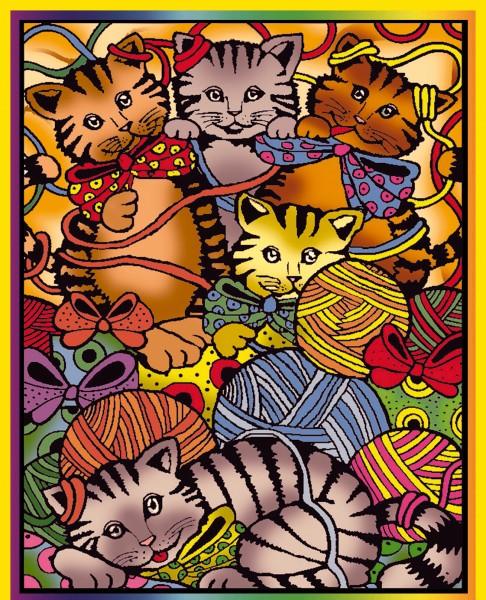 Samtbild, Color Velvet, Mittel, ca. 37x28cm, Katzen mit Wolle