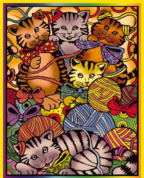 Samtbild, Color Velvet, Mittel, ca. 37x28cm, Katzen mit Wolle-Copy