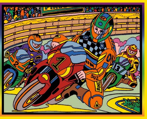 Samtbild, Color Velvet, Mittel, ca. 37x28cm, Motorradrennen