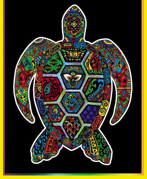 Samtbild, Color Velvet, Mini, ca. 30x21cm, Schildkröte