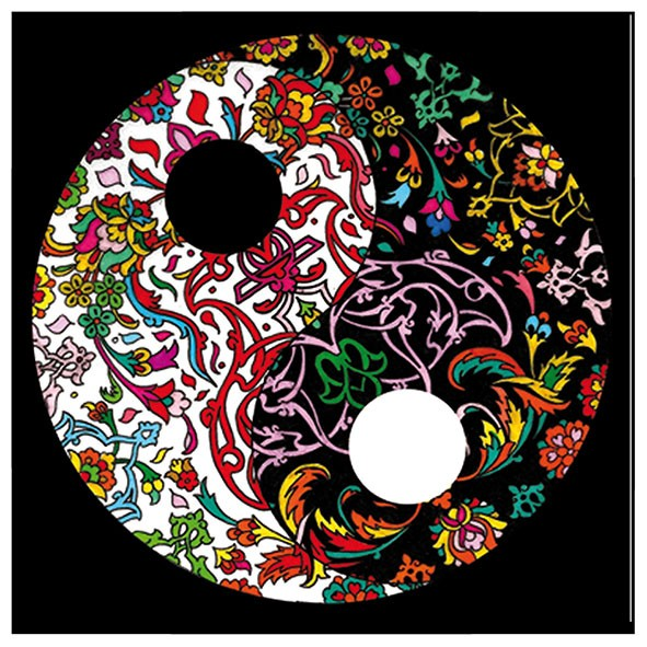 Samtbild, Color Velvet, Mandala 32x32cm, Yin und Yang