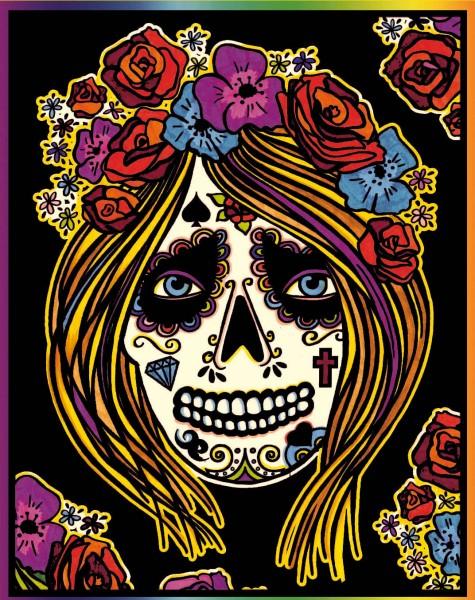 Samtbild, Color Velvet, Groß, ca. 47x35cm, Totenkopf weiblich
