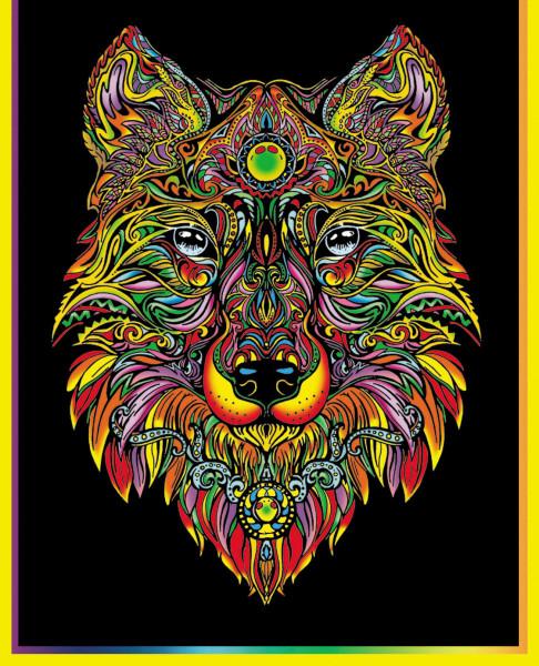 Samtbild, Color Velvet, Maxi, ca. 70x50cm, Wolf