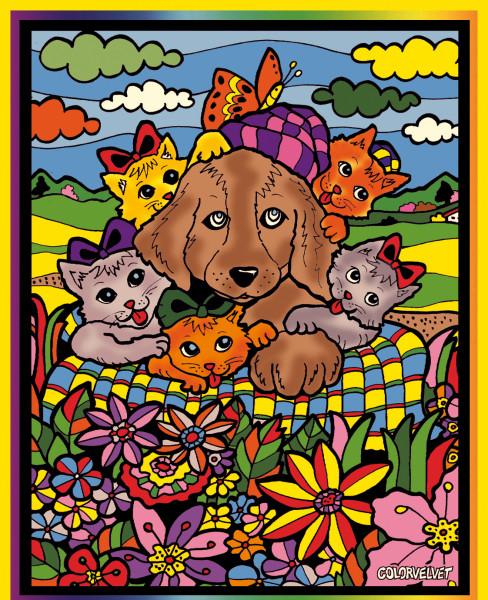 Samtbild, Color Velvet, Groß, ca. 47x35cm, Hund und Katze