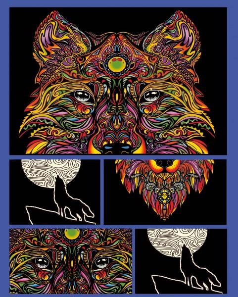 Samtbild, Color Velvet, Faltbox, ca. 24x17x13cm, Wolf