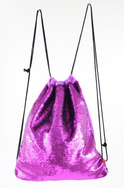 Pailletten Turnbeutel, violett