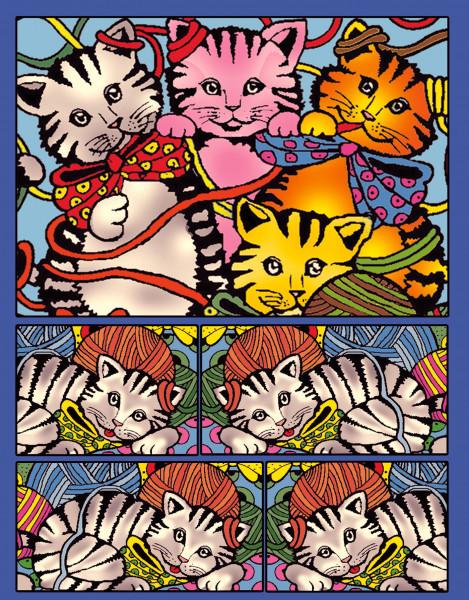 Samtbild, Color Velvet, Faltbox, ca. 24x17x13cm, Katzen