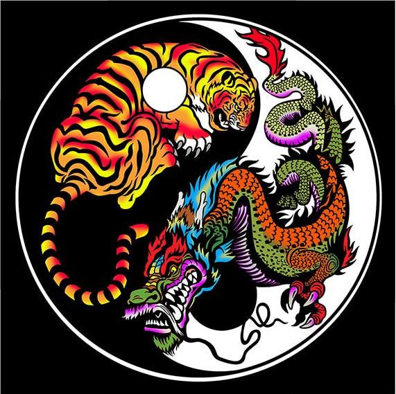 Samtbild, Color Velvet, Mandala 32x32cm,Tiger