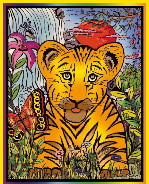 Samtbild, Color Velvet, Mittel, ca. 37x28cm, Tiger