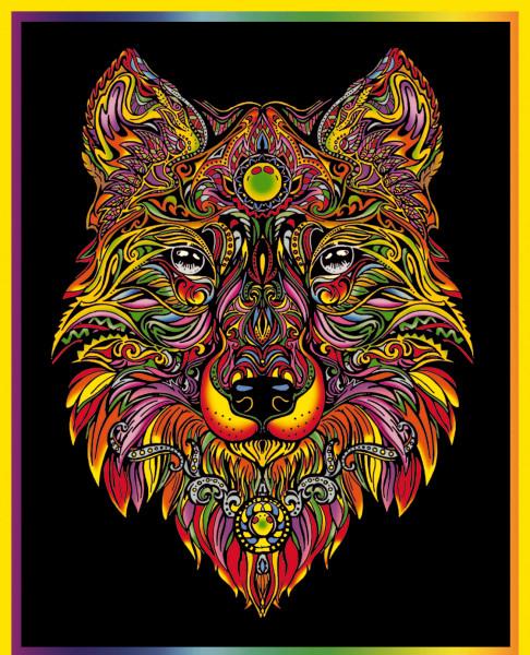 Samtbild, Color Velvet, Groß, ca. 47x35cm, Wolf