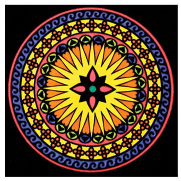 Samtbild, Color Velvet, Mandala 32x32cm, Antistress