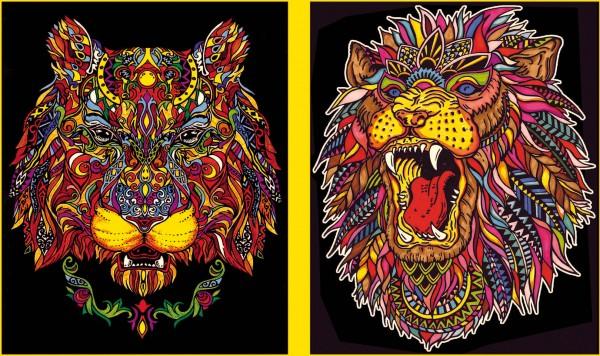 Ringbuchmappe mit Samtbildern, Löwenköpfe